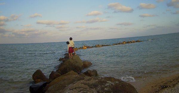 漁港で遊ぶ♪