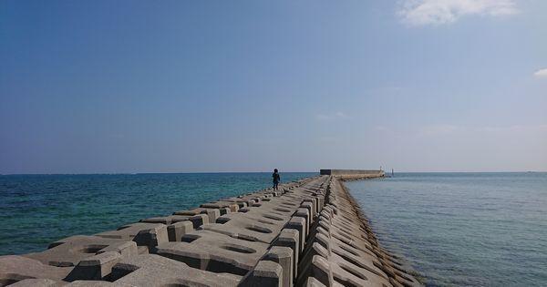 伊野田漁港、海にのびる堤防