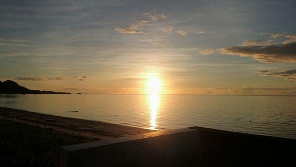 東海岸に面している伊野田漁港の朝日