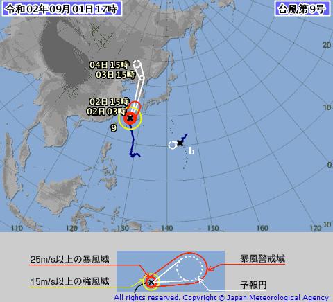 台風9号、無事に通過