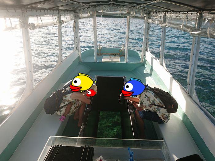 シュノーケルツアー後はグラスボート