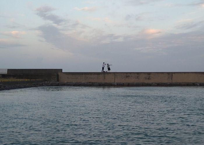 最後は堤防沿いで