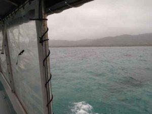 曇り、小雨ぱらぱらでもグラスボートならば大丈夫です!